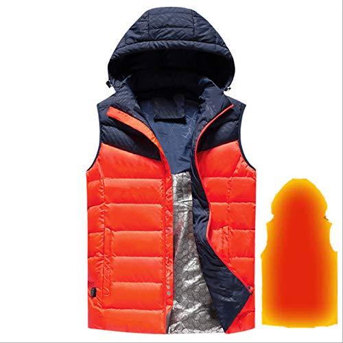 ELEAMO Heizweste, Graphene Kohlefaser Heizung Daunenjacke, USB Heizweste mit drei Stufen der Temperaturregelung, Winter warme Jacke für Wandern, Bergsteigen und Skifahren, Rot, XXL
