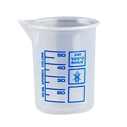 Messbecher a 50 ml, natur kleiner Kosmetex Dosierbecher, transparent Griffinbecher, 50 ml