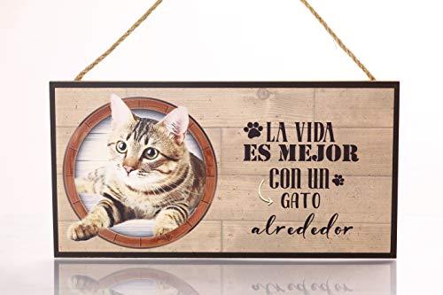 Cartel Decorativo de Madera Gato. Regalo Detalle Original para Amantes de los Animales y Mascotas. Elige la Raza de tu Perro...