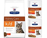 HILL'S PRESCRIPTION Diet K/D Kidney care Dry cat food 1.5kg and 2 x 85g pouches (chicken)