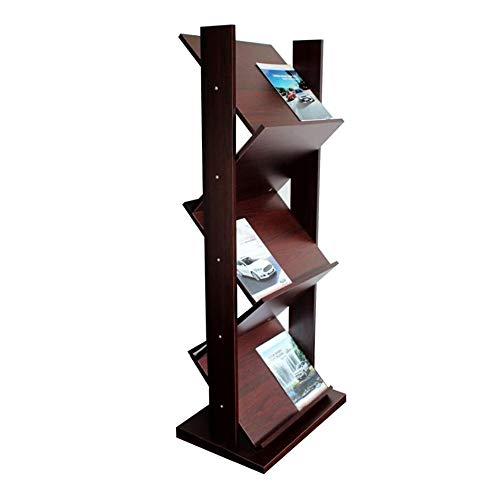 JCNFA Planken Houten Krant Rack Book Display Stand Reclame Informatie Vliegtuigen Vloer Propaganda Frame Onregelmatige vorm 22.63 * 15.74 * 54.52in Walnoot