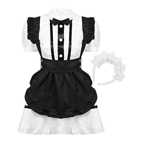 inhzoy Hallween Disfraz Mujer Mucama Vestido + Banda de Pelo Disfraz de Mucama Mujer Maid Criada Cosplay Uniforme de Camarera Estilo Gtico Blanco M