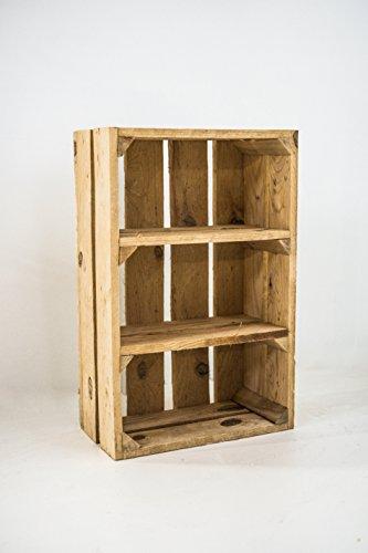 Caja de Madera Fruta con Estantes Sam, Madera Natural, Medidas 50x40x16cm. Incluye Imán Personalizable de Regalo