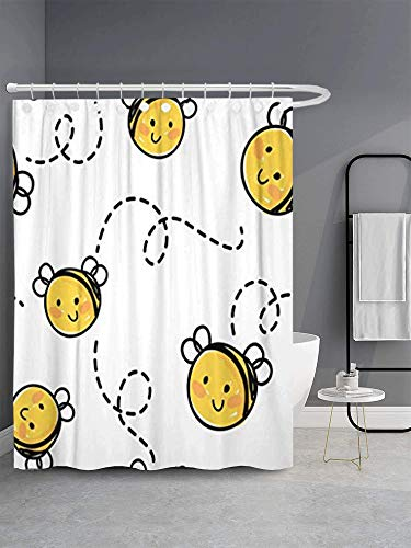 GETTOGET White Baby Bee Honey Cute Flying Happy Honeybee Cartoon Animal Bumblebee Shower Curtain Sets Hooks,Waterproof Polyester Curtain