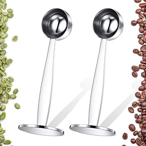2 Pieces Coffee Scoop Stainless Steel Espresso Tamper 51 mm Two in One Measuring and Espresso Coffee Tamper for Coffee Bean Press Coffee Grinding Pressing, 15 ml