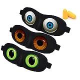 3D Sleep Eye Mask Funny Blindfold with Angel Eye Labeling & Ear Plugs Ultra Lightweight Eyeshade for Men Women Kids Plane Travel Nap Night Sleeping
