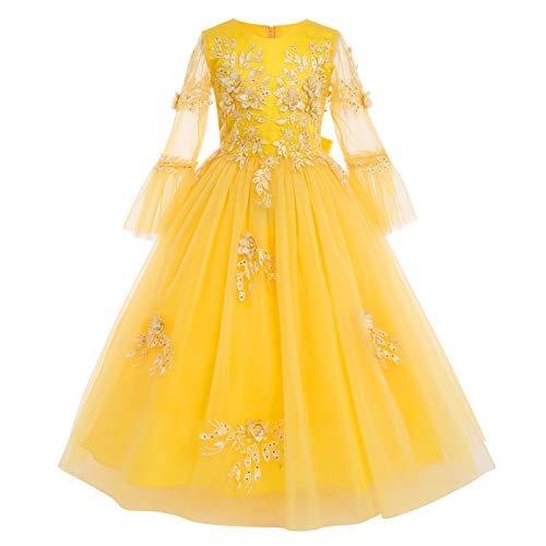 IWEMEK - Aplique de flores para niñas, vestido de princesa, comunión de honor, con lentejuelas perladas con volantes, manga larga, tul maxi vestido de baile, fiesta de boda o niños amarillo 11-12 Años