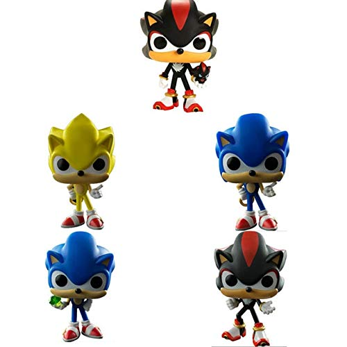 XINKANG Sonic Cartoon Juguetes 5pcs / Lot Classic Anime Game Image Model Super Sonic Hedgehog Figuras De Acción Shadow 10cm Doll Toys Collection para Regalos