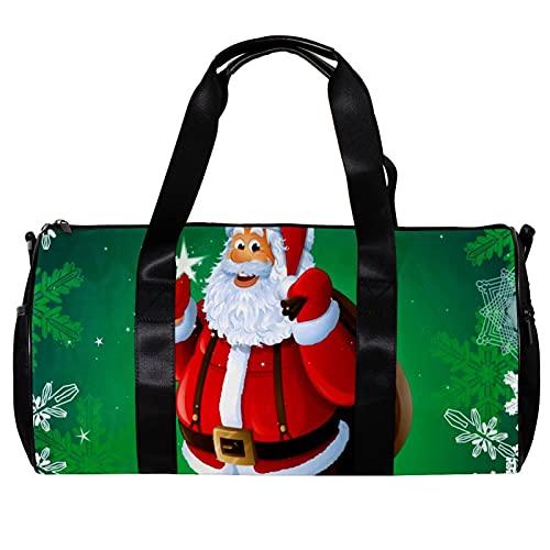 Bolsa de deporte redonda con correa de hombro desmontable para Navidad, Papá Noel con copos de nieve verdes, bolsa de entrenamiento para mujeres y hombres