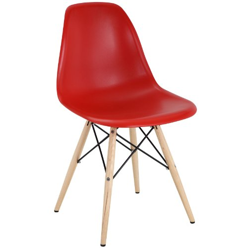 Modway Pyramid Mid-Century Modern Kitchen and Dining Room Chair with Natural Wood Legs in Red
