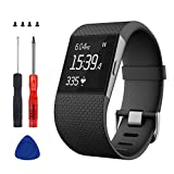 Sophili Replacement Bands Compatible for Fitbit Surge Watchwith Metal Buckle Fitness Wristband Strap Small Large(Black/L)