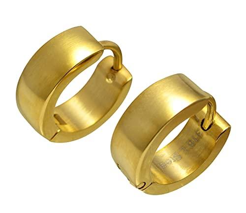 Kikuchi ER15112 - Pendientes de aro para hombre y mujer, acero inoxidable, color dorado mate, 6 mm/16 mm de diámetro