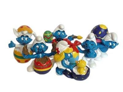 Lot de 6 figurines de Schtroumpfs de Pâques.