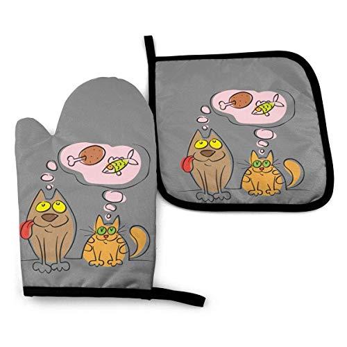 N\A Sketch - Juego de Manoplas y Porta ollas para Perros y Gatos, para Cocina, para mostrador, Resistentes al Calor, para cocinar, Barbacoa, Asar a la Parrilla (Juego de 2 Piezas)