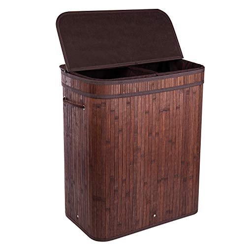 BRIAN & DANY 100L Bamboo Laundry Basket 2-Sectional Washing Box Bin Storage Hamper with Lid and Removable Liners