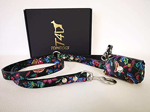 TOP4DOGS Correa con porta bolsas, collar para perro de piel auténtica, fabricada en Italia, color Oriente