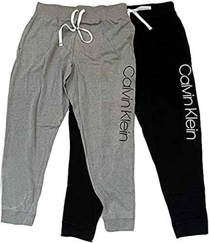 Calvin Klein Women s 2 Pack French Terry Joggers (Black Wolf, Medium)
