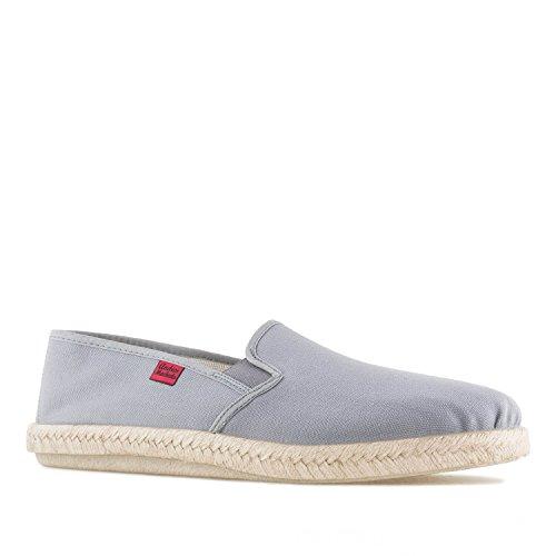 Andrés Machado - Unisex Slipper für Damen und Herren – AM500 - für den Sommer – Hausschuhe – aus grauem Leinen mit Rutschfester Gummisohle – EU 45