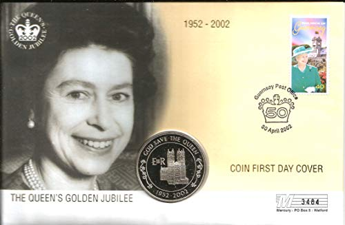 FIRST DAY COVER (COIN & STAMPS): THE QUEEN'S GOLDEN JUBILEE 30th April 2002 with the One 2002 Crown style 50p coin. The condition is as new and is an extra large cover. LIMITED EDITION NUMBER: 03484