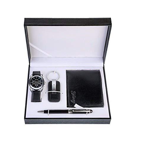 petit un compact Souarts Set Coffret Cadeau Montre Porte-Monnaie Stylo Bille Porte-clés Homme Noir en Noir