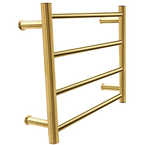 BILLY'S HOME Electric Towel Warmer, Electric 304 Stainless Steel Tower Warmer with 4 Heated Bars Wall-Mounted for Bathroom Gold 450×540×125mm,Plugin