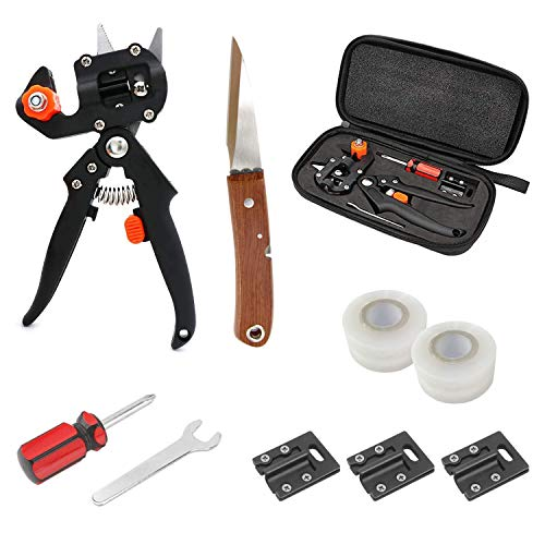 Fimghsoo Garden Grafting Tools, Bonsai Pruner Kit with Grafting Tapes, Grafting Shears& Replacement Blades, Grafting Knife, Plant Branch Twig Vine Fruit Tree Cutting Tool Kits Scissors