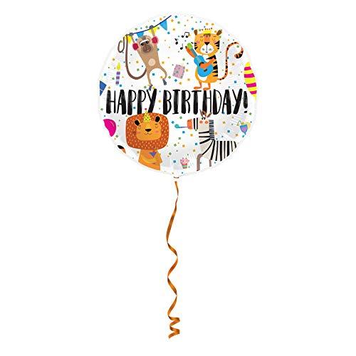 COOLMP – Lote de 12 globos de aluminio Happy Birthday, animales – 45 cm – Talla única – Decoración de accesorios de fiesta, almuerzo, cumpleaños, boda, evento, juguete, balón