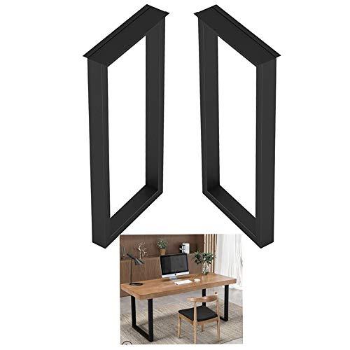 NWHJ Tischbein vierkantprofil Tischkufen, Metall Tischuntergestell, schmiedeeiserne Küche Esstischgestell, verstellbare Füße zum Schutz des Bodens, 2er-Set, Schwarz, Gold, Silber