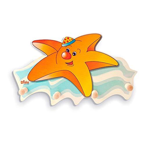 Dida - Porte-Manteaux Enfant – étoile de mer - Porte Manteau Mural en Bois pour Chambres d'enfant et bébé avec des Animaux Marins