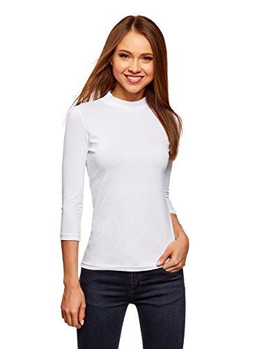 oodji Ultra Damen Baumwoll-Pullover mit 3/4-Arm und Stehkragen, Weiß, DE 44 / EU 46 / XXL
