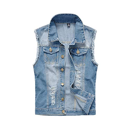 Chaqueta Vaquera para Hombre Chaqueta de Jeans Chaquetas Sin Mangas Rasgadas Chaleco Jean Slim Fit Chaleco de Mezclilla para Otoño Primavera,Azul2,XXS
