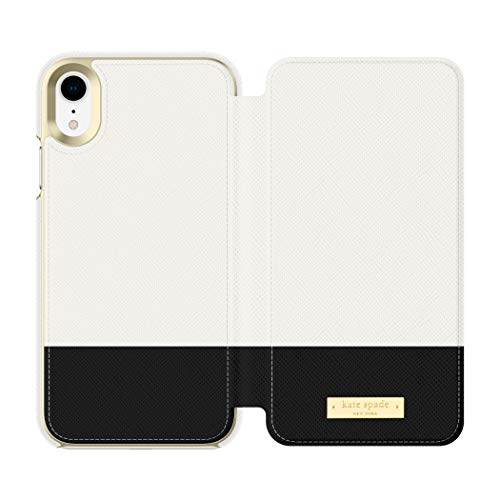 kate spade new york Cement/Black Color Block Folio Case for iPhone XR - Saffiano Leather ID & Card Holder
