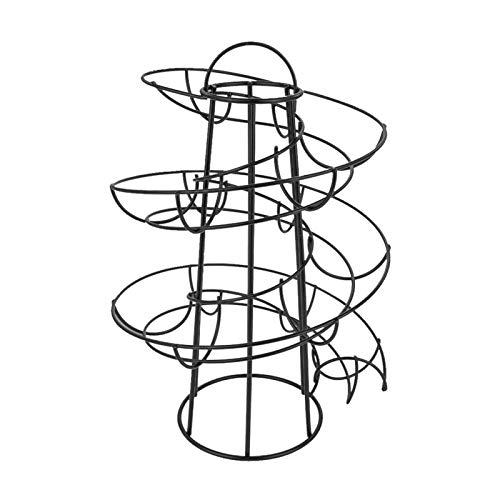 Hueveras Para Frigorifico Tenedor de huevos Diseño de espiral Dispensador de huevo Estante de almacenamiento Pantalla de huevo Huevo Huevera (Color : Black)