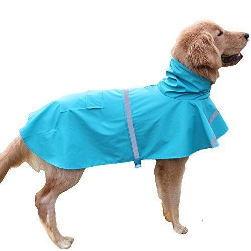 Tineer Ajustable Impermeable Mascota Perro Chaqueta Impermeable con Capucha Impermeable Chaqueta de la Capa de la Lluvia Ropa para Perros Pequeños Medianos Grandes (M, Azul Claro)