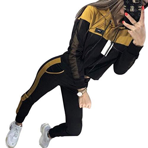 Yying Chándal Sudaderas con Capucha de Manga Larga Conjunto Casual Ropa de Mujer Conjunto de 2 Piezas Tops + Pantalones Traje Deportivo Amarillo S