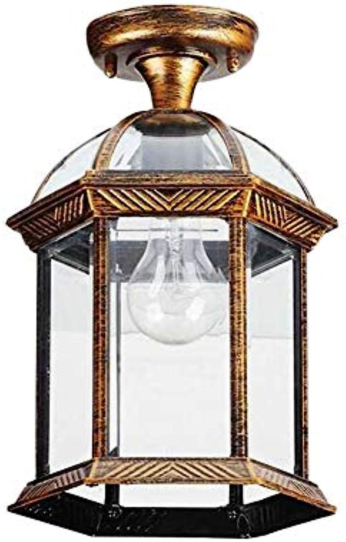 Retro E27 Deckenleuchte Aluminium und Glas Schatten Wasserdicht Aussen Deckenbeleuchtung Balkon Flur Gang Pavillon Rustikal Deckenlampe,Bronze 20  20  30CM