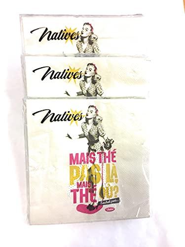 Natives - Juego de 3 paquetes de servilletas de papel (15 x 15 cm, desplegadas 33 x 33 cm)