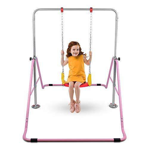 ONETWOFIT Kinder klappbare Kletterstangen mit Schaukel für die Nutzung zu Hause, Gymnastik-Trainingsstangen 4-Fach höhenverstellbar OT128