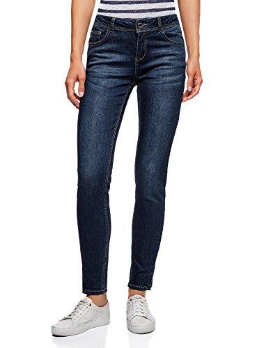 oodji Ultra Donna Jeans Skinny con Cerniere, Blu, 26W / 32L