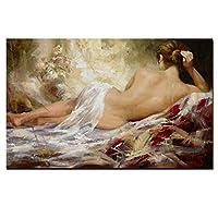 ボディーアートキャンバスポスター現代抽象女性カラフルなセクシーな女性ヌード油絵キャンバス画像プリント壁アート浴室の寝室の壁の装飾  フレームレス,Lying down,50×66cm