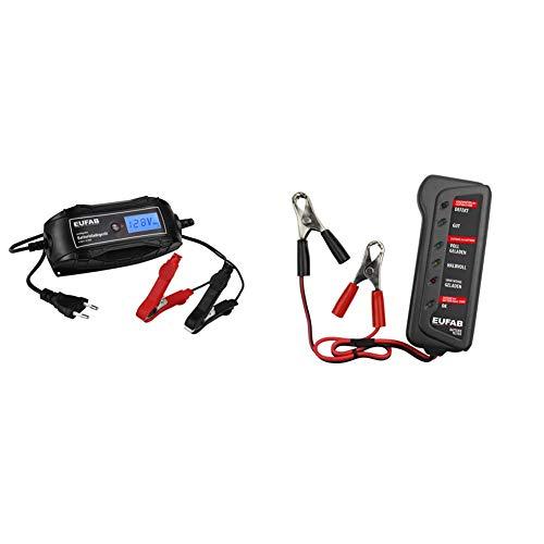 EUFAB 16615 Batterieladegerät 6/12V 4A + Eufab 16599 Batterie-Tester