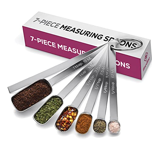 Premium Stainless Steel Measuring Spoons set - 7-Piece Kitchen Measuring Spoons With Leveler - Slim Design Fits In Spice Jars - Metal Measuring Spoon Set for Dry, Liquid Ingredients Cooking & Baking.