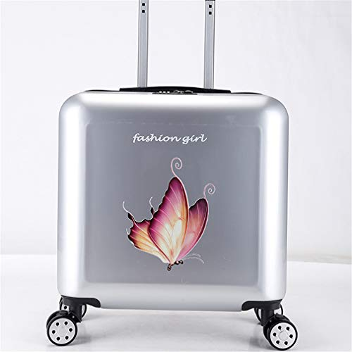 BBXW Expandable Luggage,Hardside Carry-on Luggage Suitcase,Lightweight Suitcase With Spinner Wheels,Korean Style Printing Silver 1 45x23x49cm
