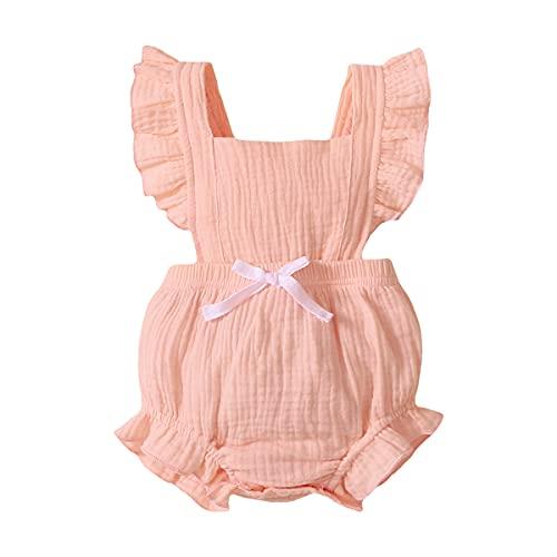 Niña Bebé Mono Verano Salir Enfadado Sin Mangaas Nudo De Arco Una Pieza Mono Juegos De Ropa (12-18 Meses, Rosado)