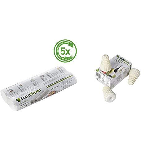 Foodsaver FSR2802 Rollos de Envasado al Vacío, 2 Rollos de 5.5 Metros FSFSBS0024-050 Tapón Sellado al vacío para Botellas (Paquete de 3)