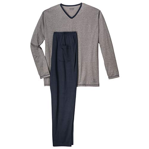 Ceceba XXL Leichter V-Neck Pyjama grau/dunkelblau, deutsche Größe:68/70