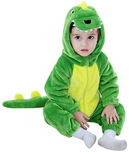 Katara 1778 Dino-Saurier Baby-Kostüm Karneval, kuscheliger Jumpsuit, Verschiedene Tiere & Größen, Pyjama-Qualität, grün