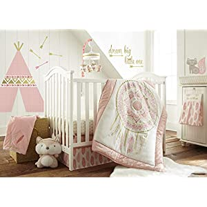 Levtex Baby – Little Feather Pink Crib Bed Set – Baby Nursery Set – Pink Coral Cream Gold – Dreamcatcher – 5 Piece Set Includes Quilt, Fitted Sheet, Diaper Stacker, Wall Decal & Skirt/Dust Ruffle