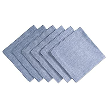DII Chambray Pastel Basic Cloth Napkins for Everyday Place Settings with Woven Denum Look, Perfect for Weddings, Buffets, Parties, Formal Meals (20x20 Large, Set of 6) Blue