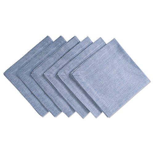 DII CAMZ36965 100% Cotton, Chambray Napkin Set, Oversized Basic Everyday, Blue 6 Count